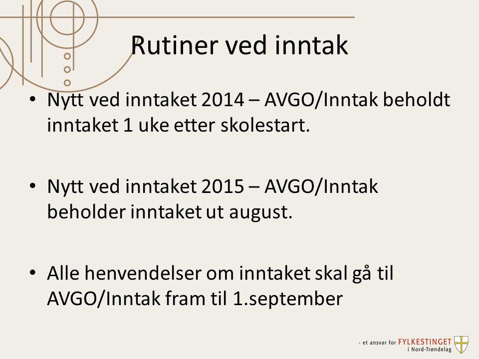 Rutiner ved inntak Nytt ved inntaket 2014 – AVGO/Inntak beholdt inntaket 1 uke etter skolestart. Nytt ved inntaket 2015 – AVGO/Inntak beholder inntake