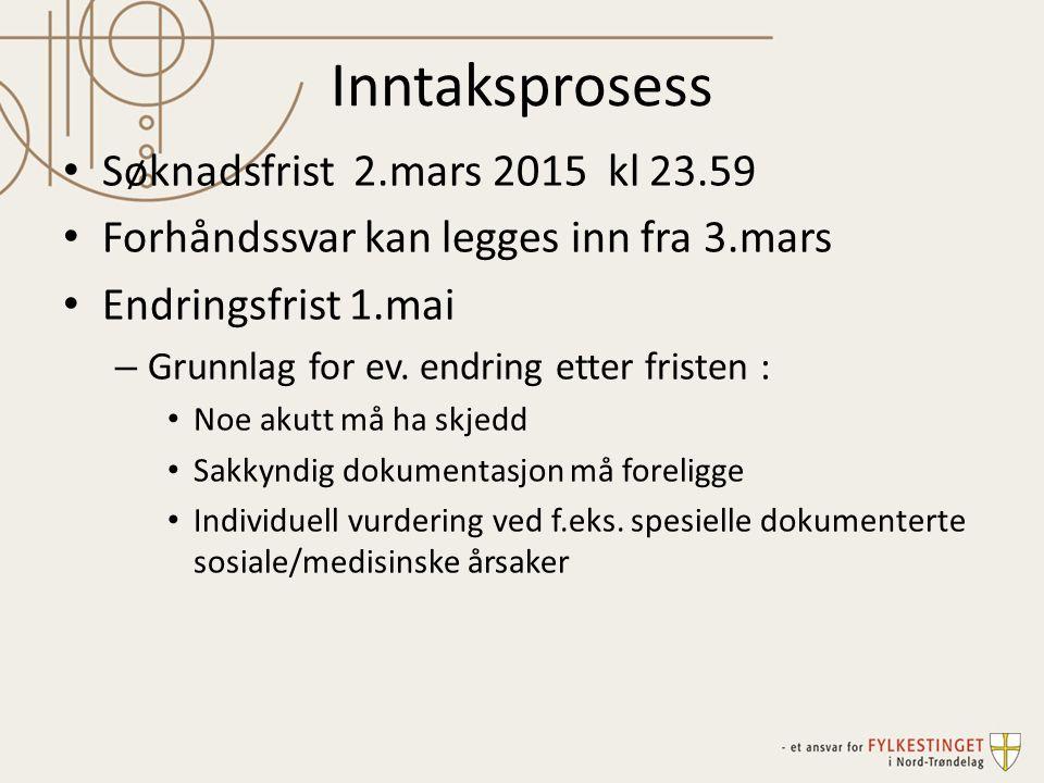 Inntaksprosess Søknadsfrist 2.mars 2015 kl 23.59 Forhåndssvar kan legges inn fra 3.mars Endringsfrist 1.mai – Grunnlag for ev. endring etter fristen :