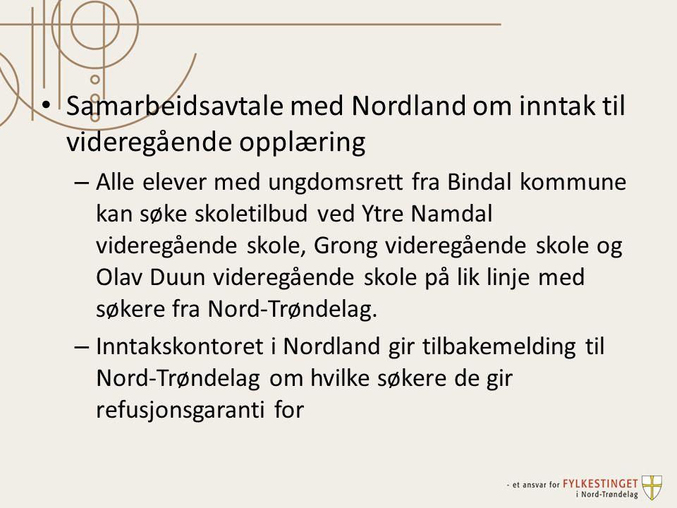 Samarbeidsavtale med Nordland om inntak til videregående opplæring – Alle elever med ungdomsrett fra Bindal kommune kan søke skoletilbud ved Ytre Namd
