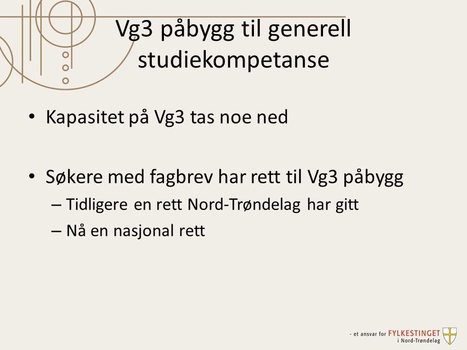 Vg3 påbygg til generell studiekompetanse Kapasitet på Vg3 tas noe ned Søkere med fagbrev har rett til Vg3 påbygg – Tidligere en rett Nord-Trøndelag ha