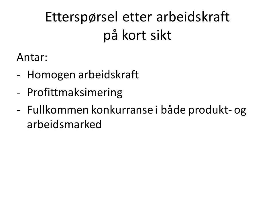 Etterspørsel etter arbeidskraft på kort sikt Antar: -Homogen arbeidskraft -Profittmaksimering -Fullkommen konkurranse i både produkt- og arbeidsmarked