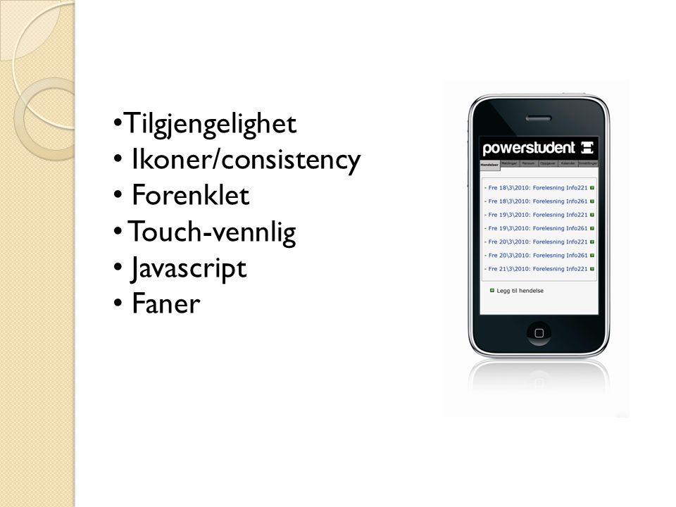 Tilgjengelighet Ikoner/consistency Forenklet Touch-vennlig Javascript Faner