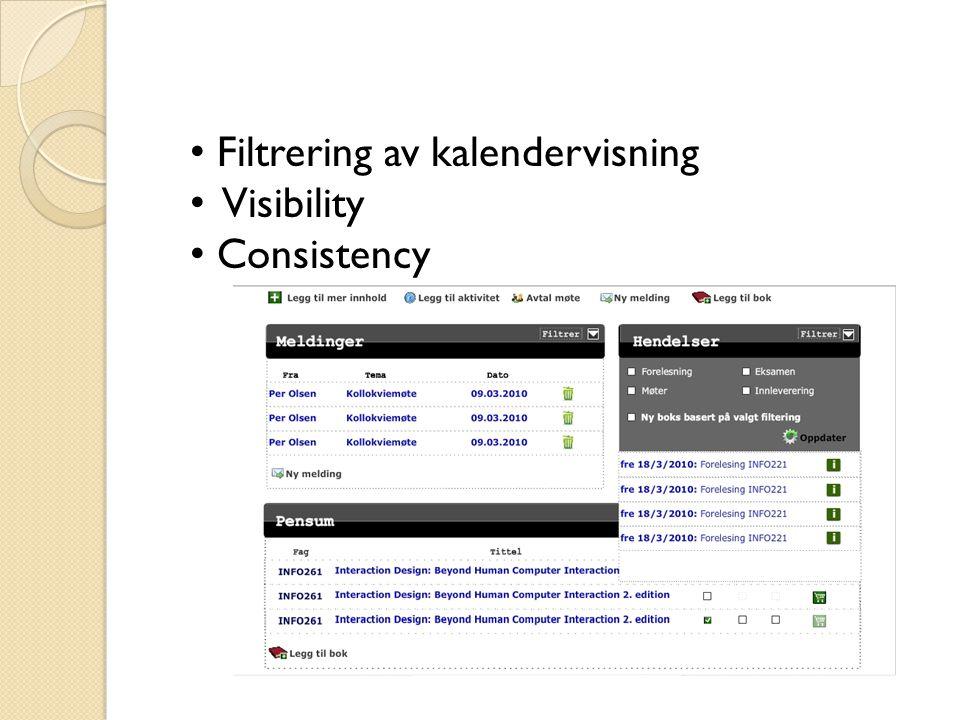 Filtrering av kalendervisning Visibility Consistency