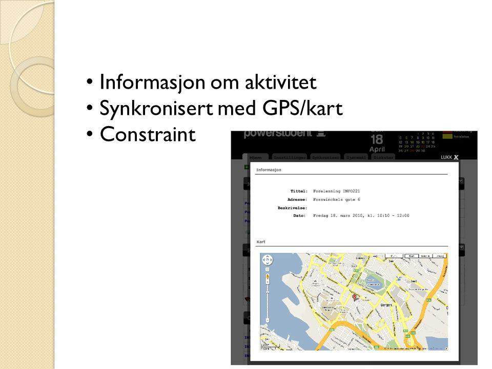 Informasjon om aktivitet Synkronisert med GPS/kart Constraint
