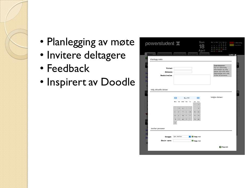 Planlegging av møte Invitere deltagere Feedback Inspirert av Doodle