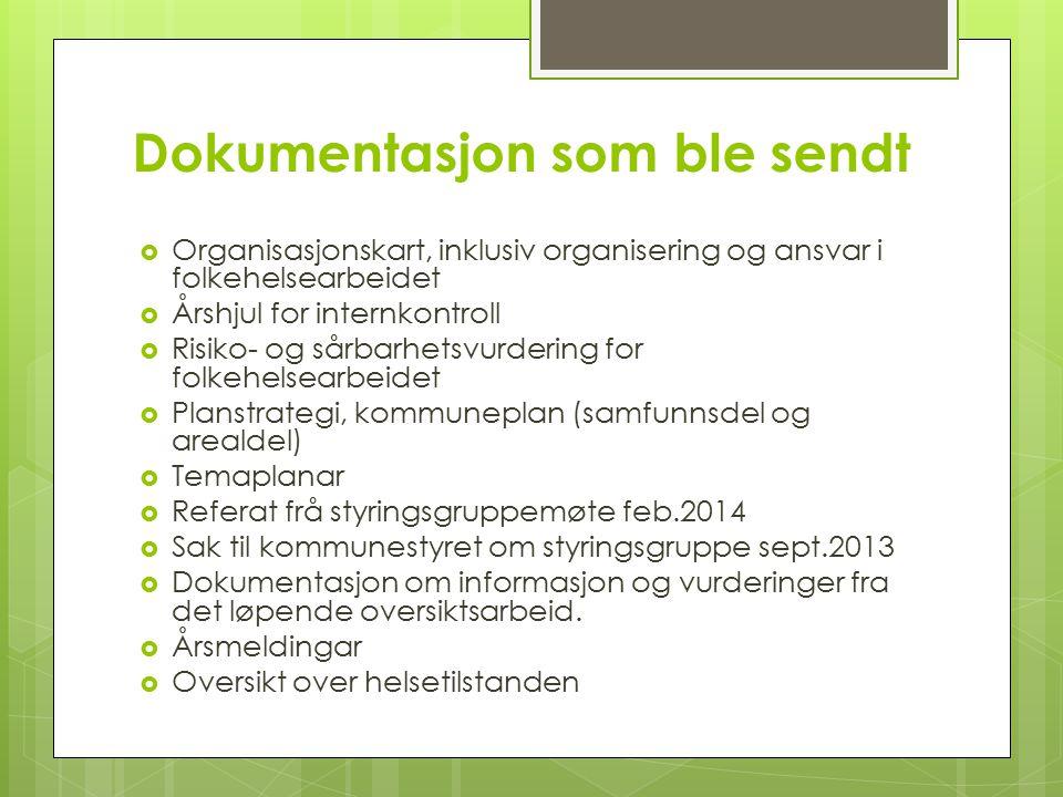 Dokumentasjon som ble sendt  Organisasjonskart, inklusiv organisering og ansvar i folkehelsearbeidet  Årshjul for internkontroll  Risiko- og sårbar