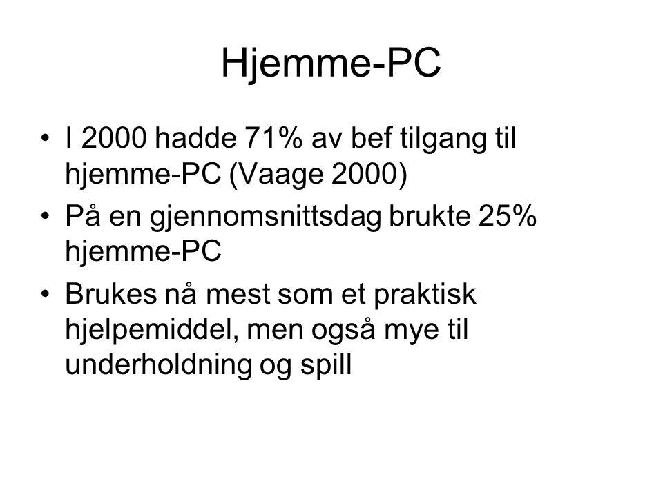 Hjemme-PC I 2000 hadde 71% av bef tilgang til hjemme-PC (Vaage 2000) På en gjennomsnittsdag brukte 25% hjemme-PC Brukes nå mest som et praktisk hjelpemiddel, men også mye til underholdning og spill