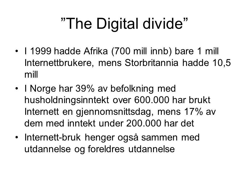 The Digital divide I 1999 hadde Afrika (700 mill innb) bare 1 mill Internettbrukere, mens Storbritannia hadde 10,5 mill I Norge har 39% av befolkning med husholdningsinntekt over 600.000 har brukt Internett en gjennomsnittsdag, mens 17% av dem med inntekt under 200.000 har det Internett-bruk henger også sammen med utdannelse og foreldres utdannelse