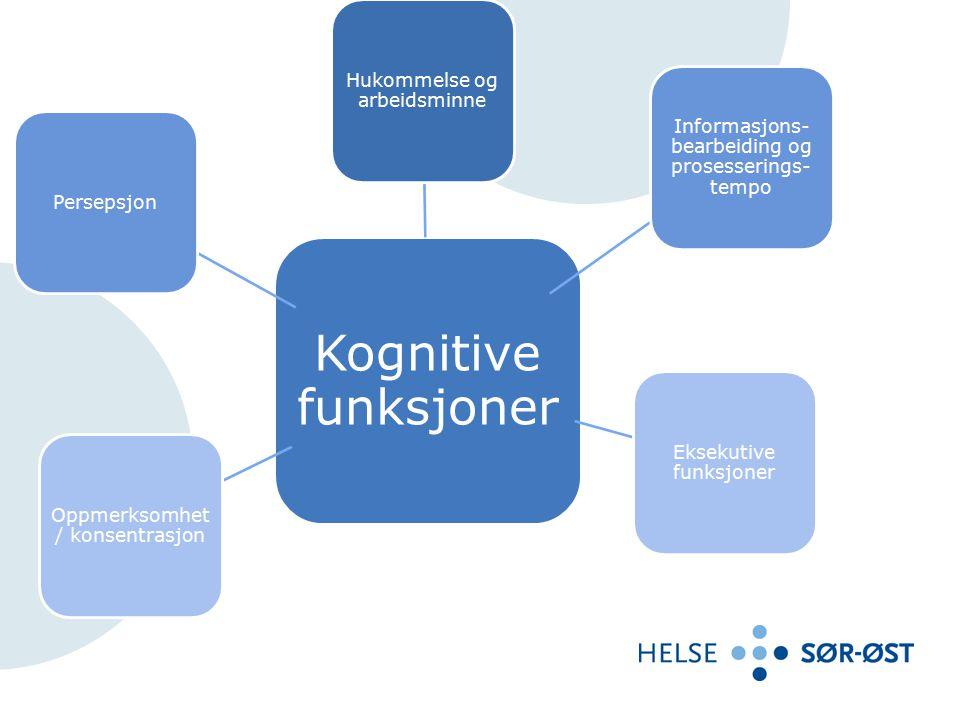 Kognitiv funksjons- nedsettelse Utfordringer: Hukommelse og arbeidsminne Utfordringer: Informasjons- bearbeiding, Prosesserings- tempo Utfordringer: Eksekutive funksjoner Utfordringer: Oppmerksomhet / konsentrasjon