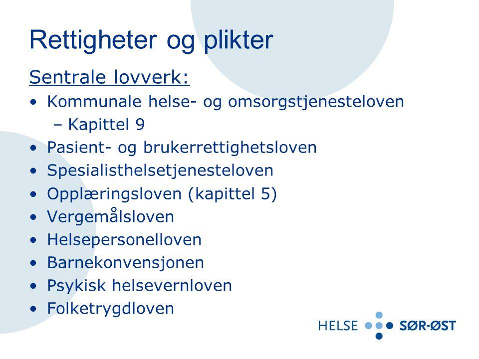 Rettigheter og plikter Sentrale forskrifter og veiledere: Forskrift om hab.