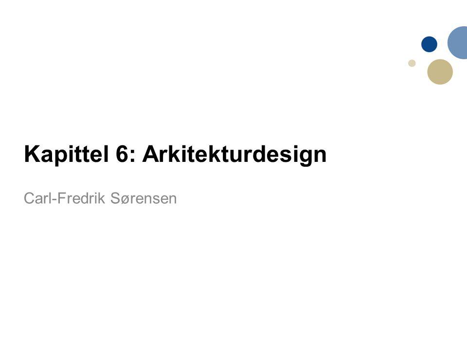 2 Innhold 1.Arkitektoniske designbeslutninger 2.Arkitektoniske synsvinkler 3.Arkitekturmønstre/patterns 4.Applikasjonsarkitekturer –(web based ++ Chap.