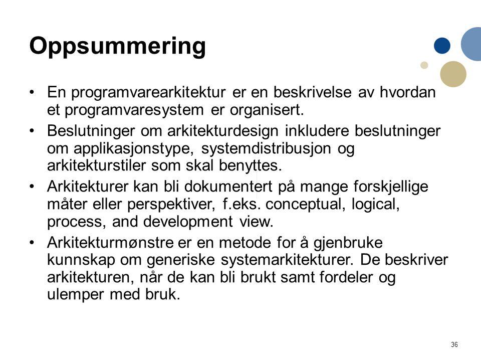 36 Oppsummering En programvarearkitektur er en beskrivelse av hvordan et programvaresystem er organisert.