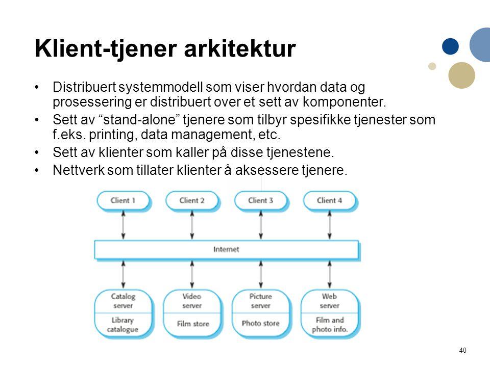 40 Klient-tjener arkitektur Distribuert systemmodell som viser hvordan data og prosessering er distribuert over et sett av komponenter.