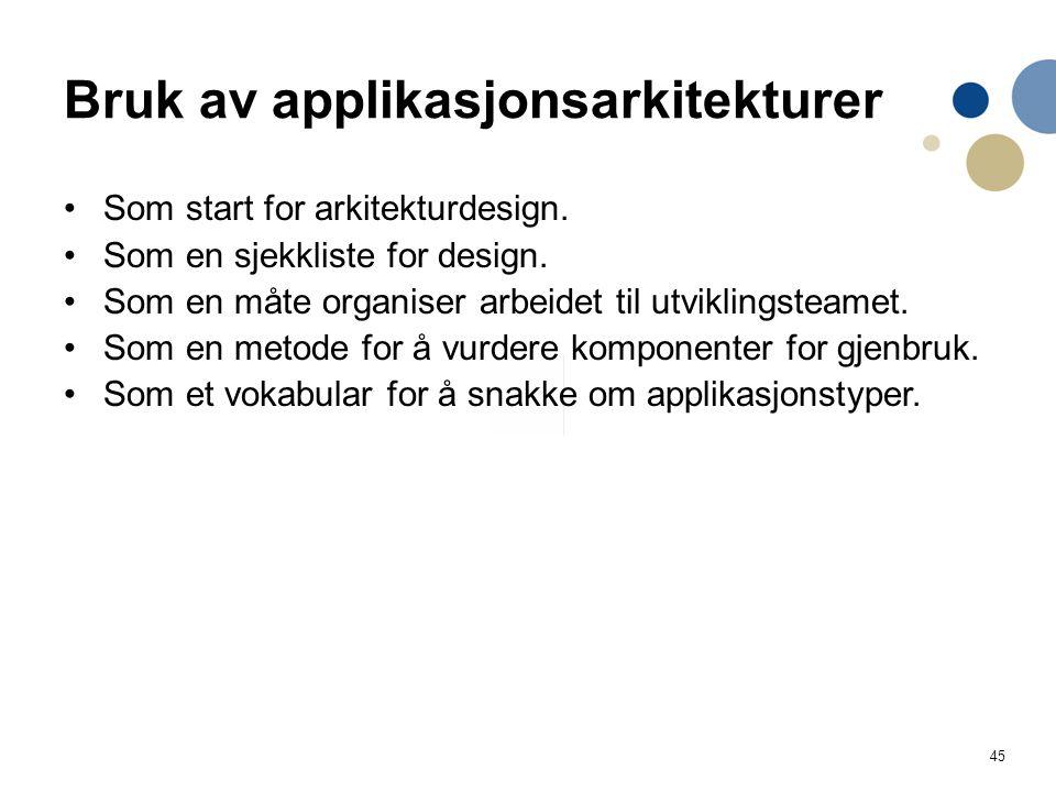 45 Bruk av applikasjonsarkitekturer Som start for arkitekturdesign.