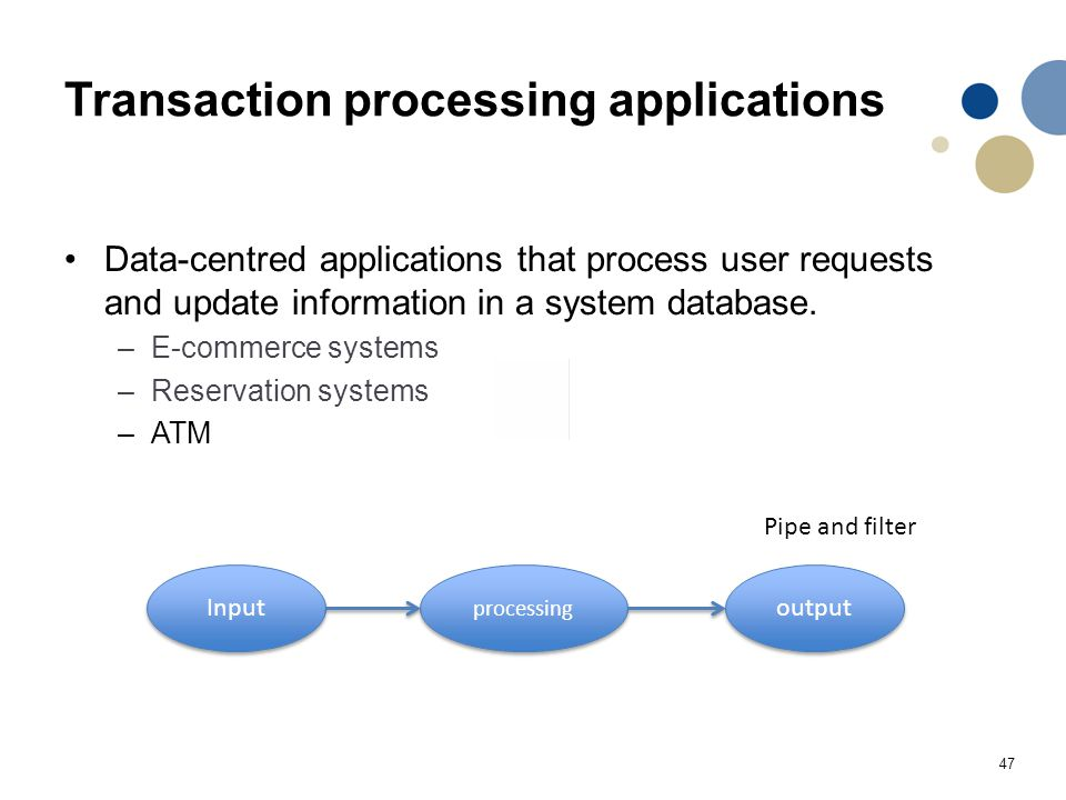 47 Transaction processing applications Data-centred applications that process user requests and update information in a system database.