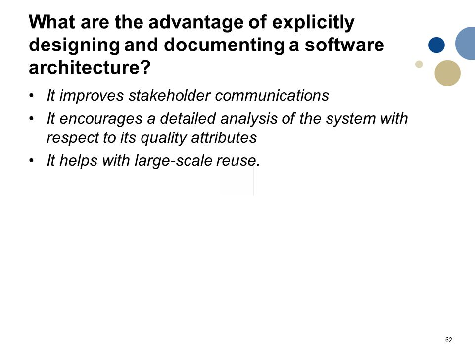 62 What are the advantage of explicitly designing and documenting a software architecture.
