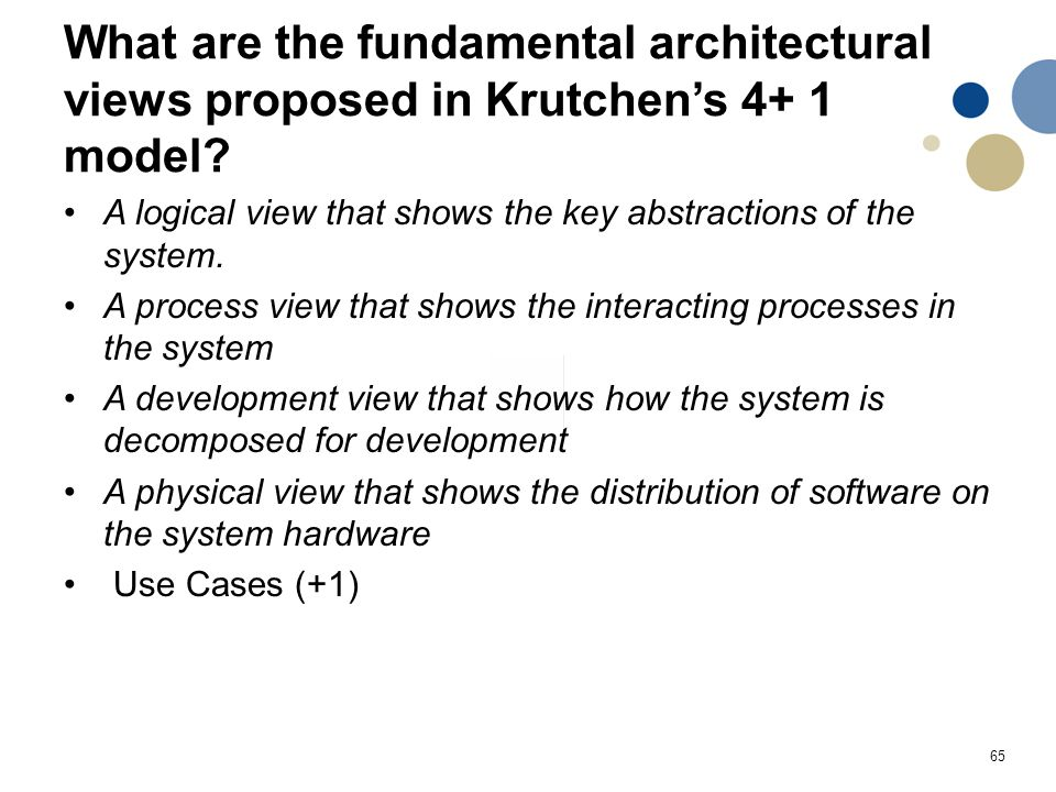 65 What are the fundamental architectural views proposed in Krutchen's 4+ 1 model.