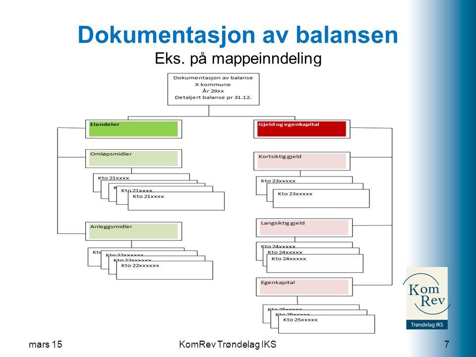 KomRev Trøndelag IKS Dokumentasjon av balansen Eks. på mappeinndeling mars 157