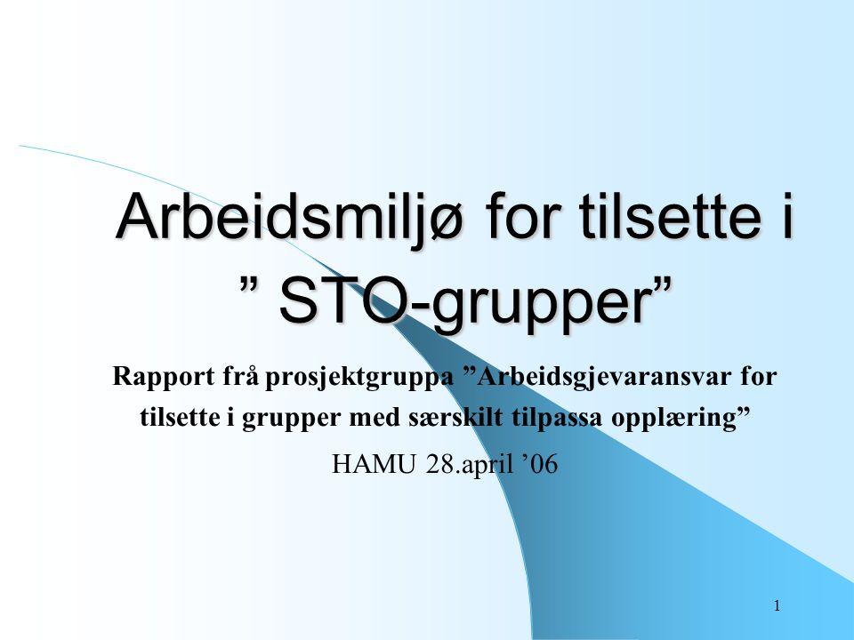 """1 Arbeidsmiljø for tilsette i """" STO-grupper"""" Rapport frå prosjektgruppa """"Arbeidsgjevaransvar for tilsette i grupper med særskilt tilpassa opplæring"""" H"""