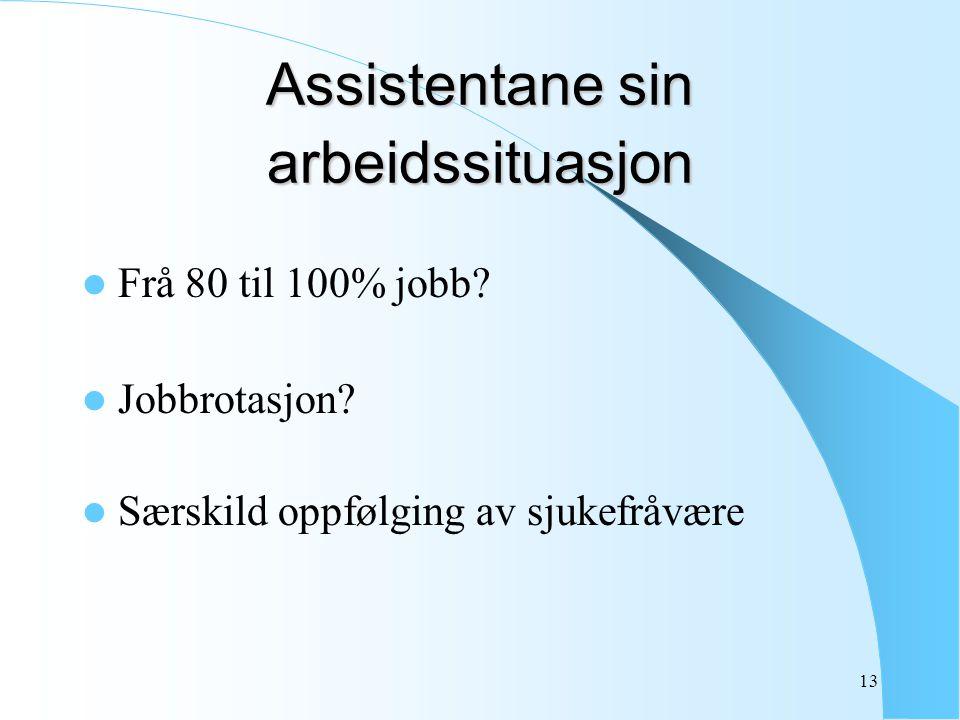 13 Assistentane sin arbeidssituasjon Frå 80 til 100% jobb? Jobbrotasjon? Særskild oppfølging av sjukefråvære