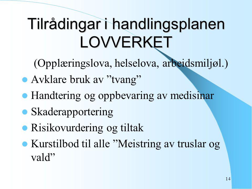 """14 Tilrådingar i handlingsplanen LOVVERKET (Opplæringslova, helselova, arbeidsmiljøl.) Avklare bruk av """"tvang"""" Handtering og oppbevaring av medisinar"""