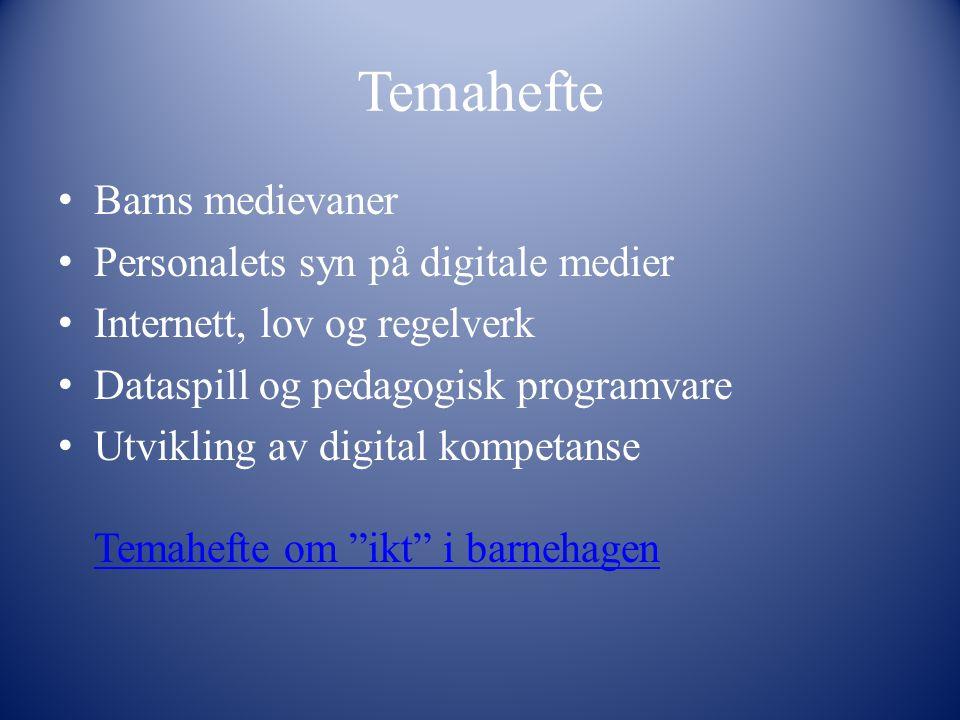 Temahefte Barns medievaner Personalets syn på digitale medier Internett, lov og regelverk Dataspill og pedagogisk programvare Utvikling av digital kom