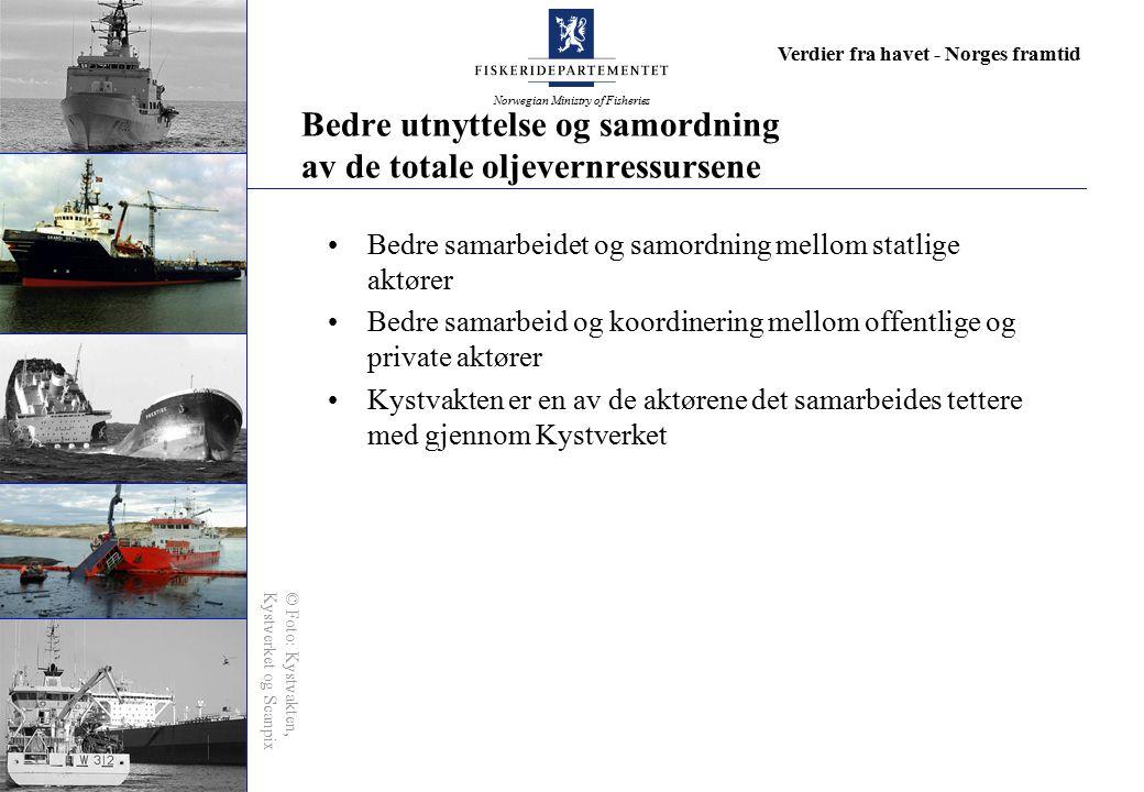 Norwegian Ministry of Fisheries Verdier fra havet - Norges framtid Bedre utnyttelse og samordning av de totale oljevernressursene Bedre samarbeidet og