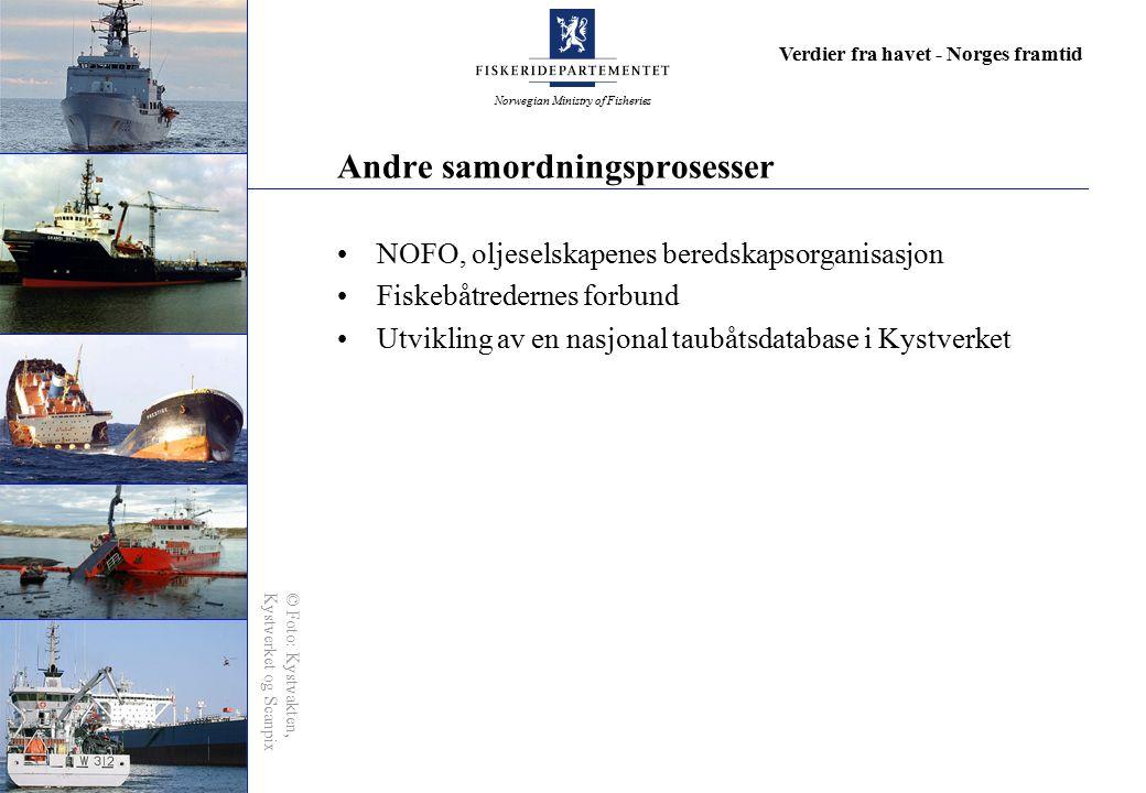 Norwegian Ministry of Fisheries Verdier fra havet - Norges framtid Andre samordningsprosesser NOFO, oljeselskapenes beredskapsorganisasjon Fiskebåtred