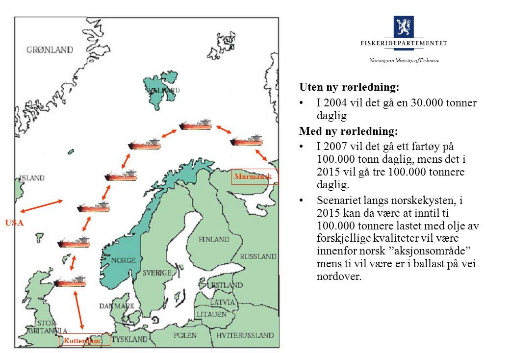 Norwegian Ministry of Fisheries Rotterdam USA Murmansk Uten ny rørledning: I 2004 vil det gå en 30.000 tonner daglig Med ny rørledning: I 2007 vil det gå ett fartøy på 100.000 tonn daglig, mens det i 2015 vil gå tre 100.000 tonnere daglig.