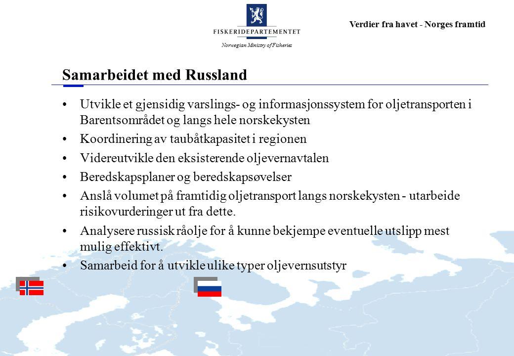 Norwegian Ministry of Fisheries Verdier fra havet - Norges framtid Samarbeidet med Russland Utvikle et gjensidig varslings- og informasjonssystem for