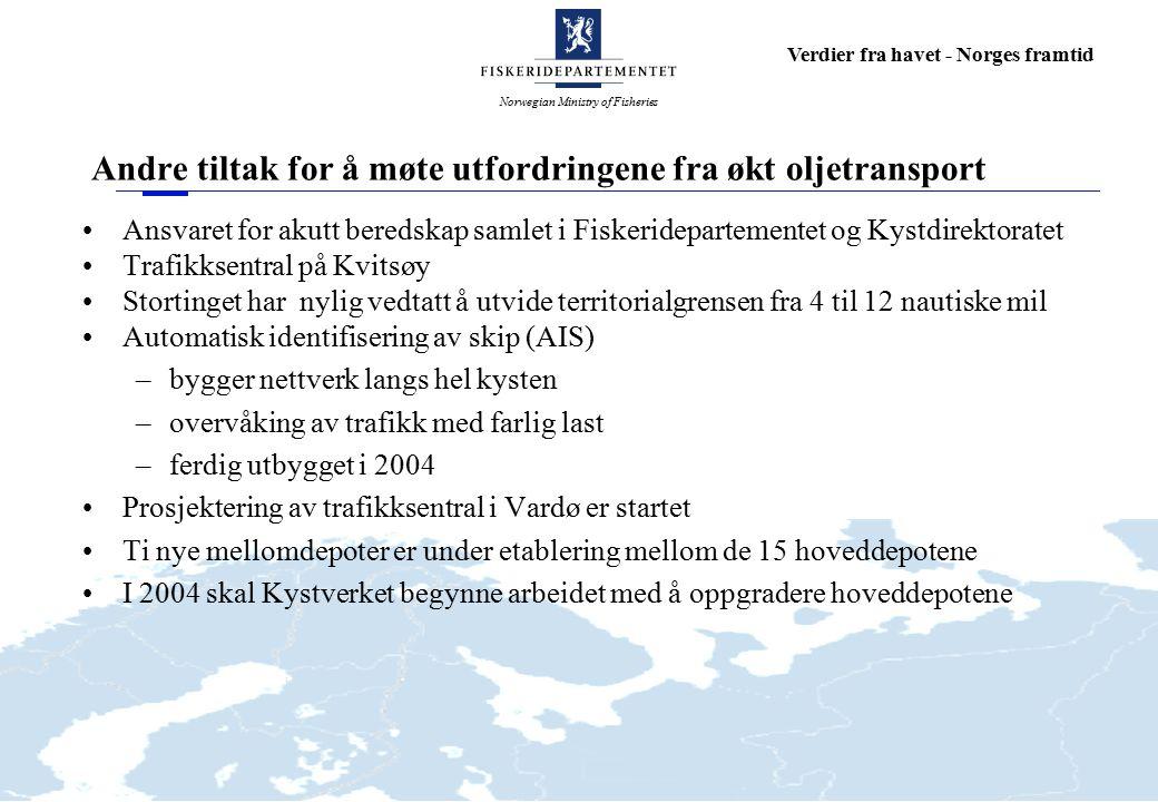 Norwegian Ministry of Fisheries Verdier fra havet - Norges framtid Andre tiltak for å møte utfordringene fra økt oljetransport Ansvaret for akutt bere