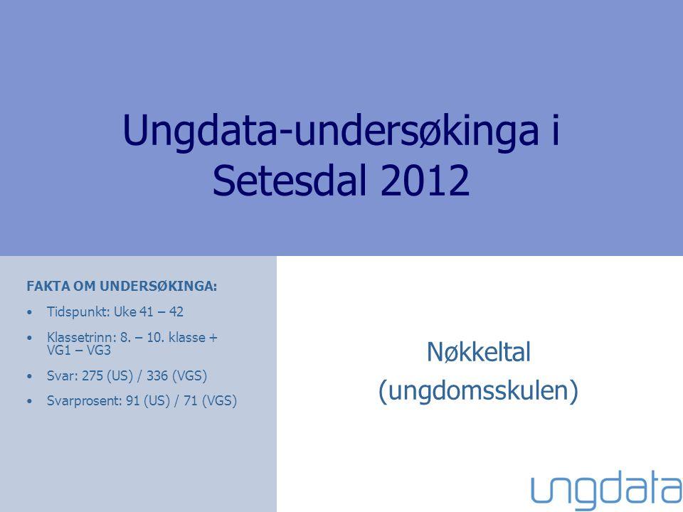 Ungdata-undersøkinga i Setesdal 2012 Nøkkeltal (ungdomsskulen) FAKTA OM UNDERSØKINGA: Tidspunkt: Uke 41 – 42 Klassetrinn: 8.
