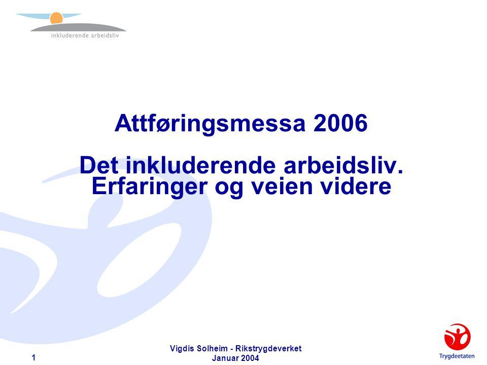 Vigdis Solheim - Rikstrygdeverket Januar 2004 12 Konsekvenser - Arbeidsgiver (1)  Arbeidsgivers ansvar for å bidra til å finne løsninger på arbeidsplassen tydeliggjøres  Tidlig dialog med arbeidstaker om situasjon og funksjonsevne aktualiseres ytterligere.