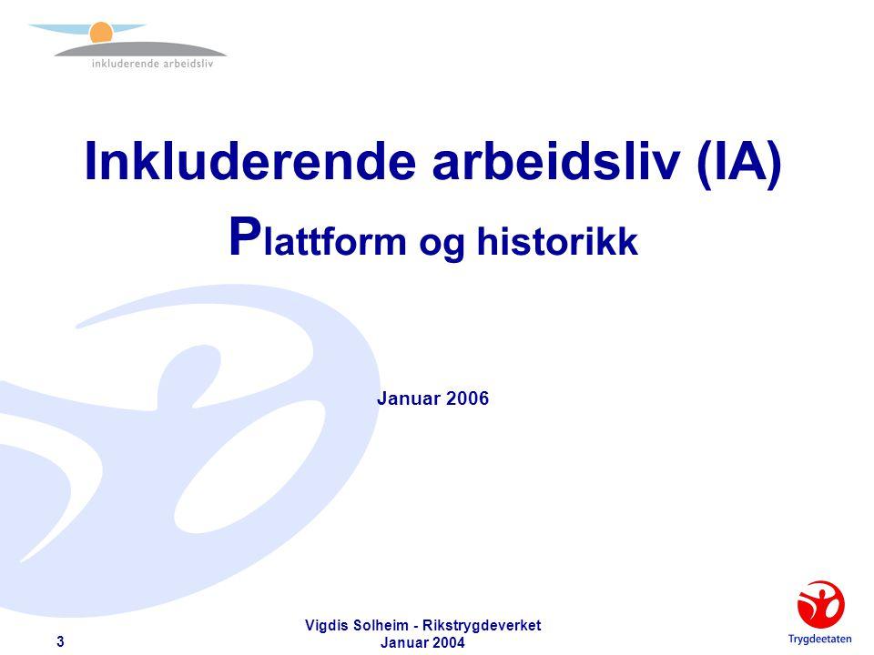 Vigdis Solheim - Rikstrygdeverket Januar 2004 14 Konsekvenser – Arbeidstaker  Akseptere at aktivitet under sykdom er normalt.
