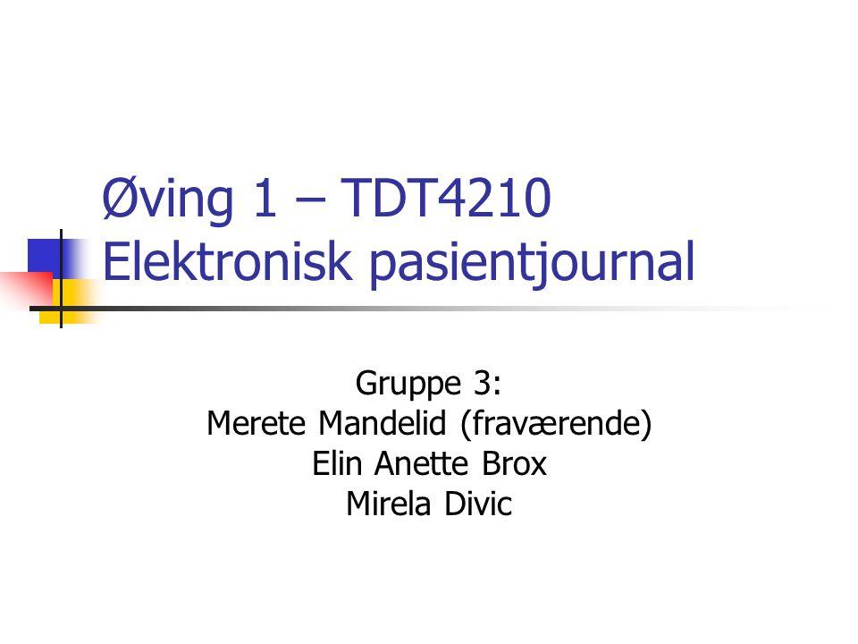 Øving 1 – TDT4210 Elektronisk pasientjournal Gruppe 3: Merete Mandelid (fraværende) Elin Anette Brox Mirela Divic