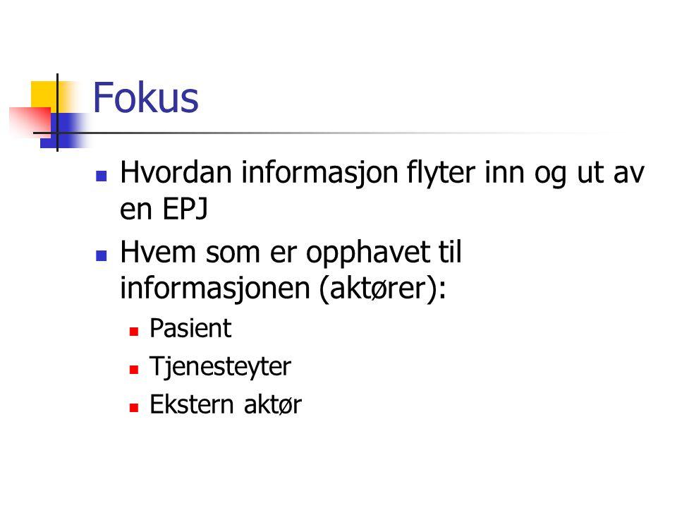 Fokus Hvordan informasjon flyter inn og ut av en EPJ Hvem som er opphavet til informasjonen (aktører): Pasient Tjenesteyter Ekstern aktør