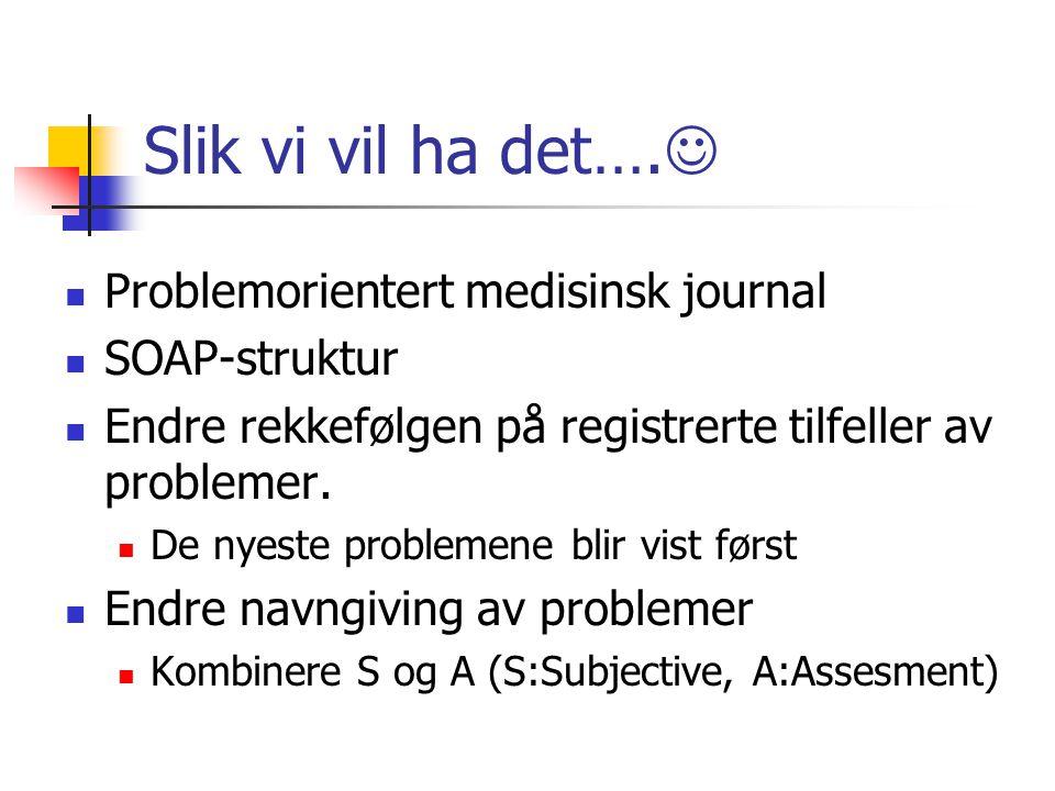 Slik vi vil ha det…. Problemorientert medisinsk journal SOAP-struktur Endre rekkefølgen på registrerte tilfeller av problemer. De nyeste problemene bl
