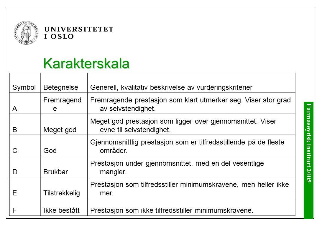 Farmasøytisk institutt 2005 Karakterskala SymbolBetegnelseGenerell, kvalitativ beskrivelse av vurderingskriterier A Fremragend e Fremragende prestasjon som klart utmerker seg.