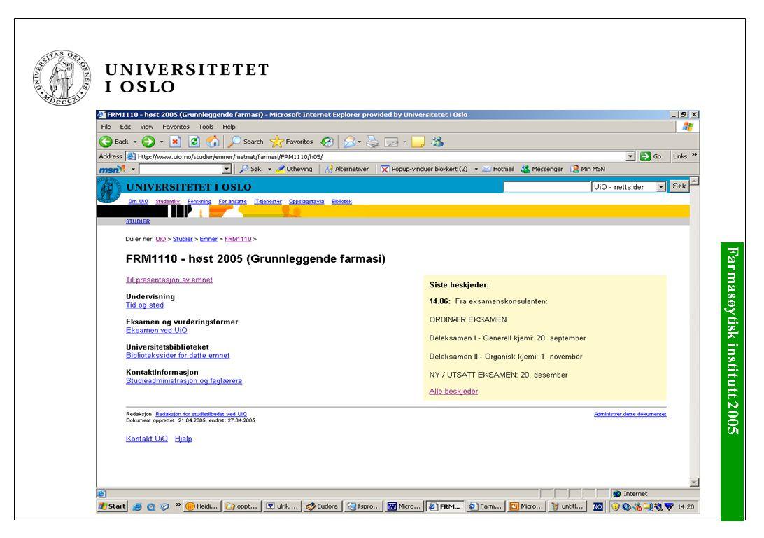 studweb.uio.no – frist 1.september Betal semesteravgiften innen 1.