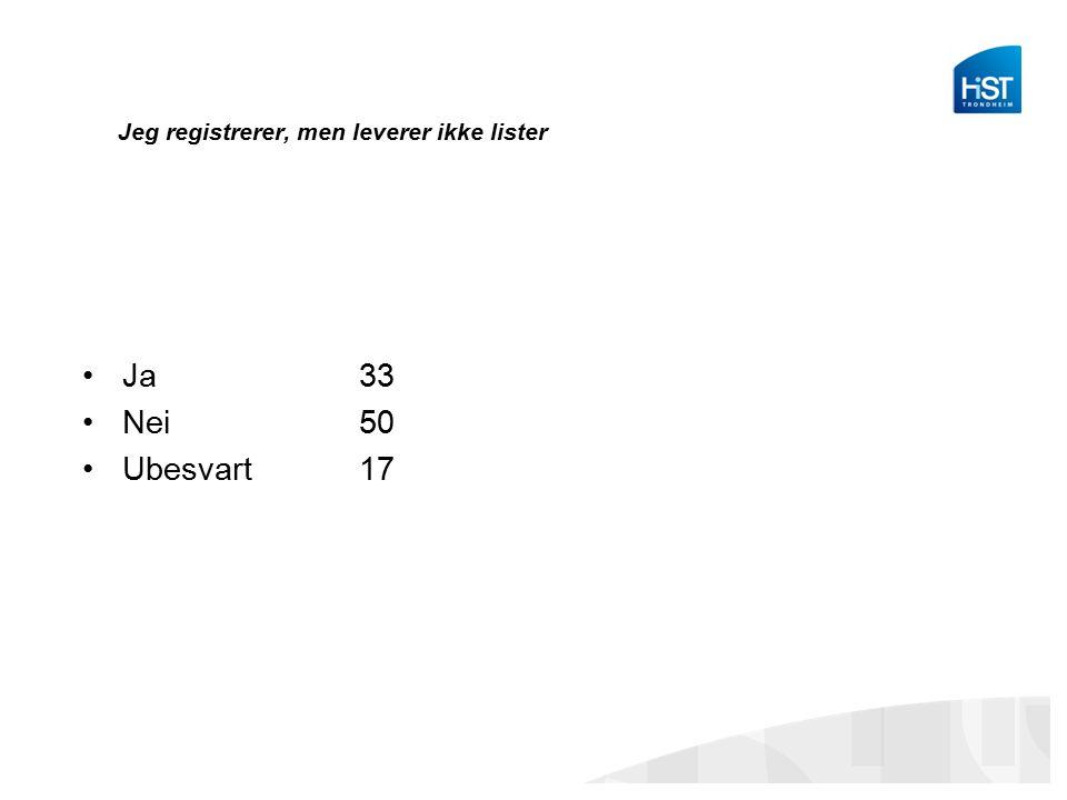Jeg registrerer, men leverer ikke lister Ja 33 Nei 50 Ubesvart 17