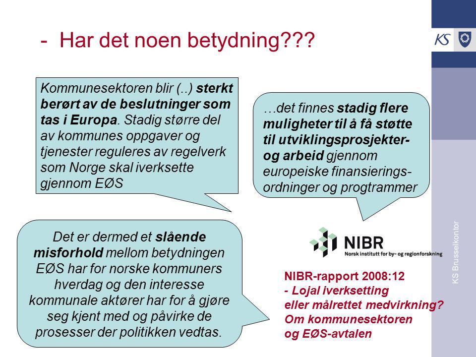 KS Brusselkontor Kilde: Nordregio Kommunale og fylkeskommunale aktører kan..
