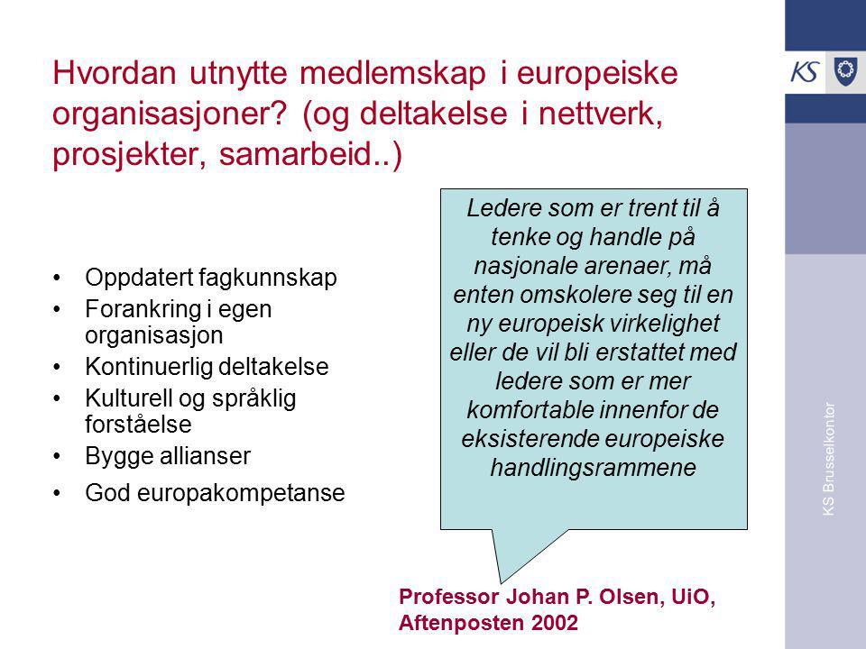KS Brusselkontor Hvordan utnytte medlemskap i europeiske organisasjoner.