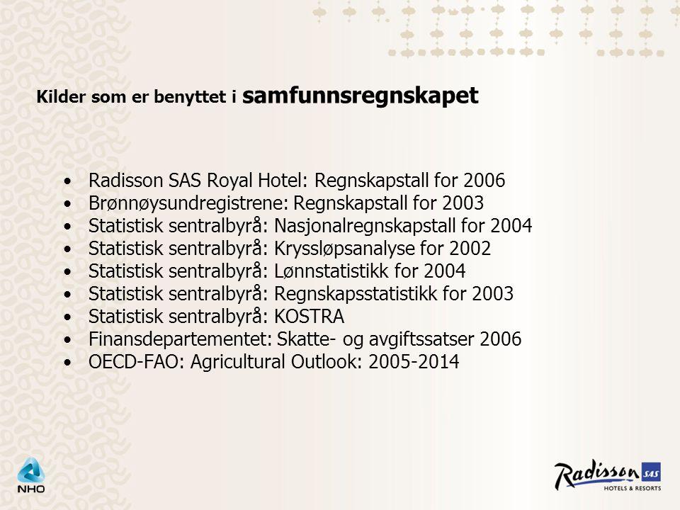 Kilder som er benyttet i samfunnsregnskapet Radisson SAS Royal Hotel: Regnskapstall for 2006 Brønnøysundregistrene: Regnskapstall for 2003 Statistisk sentralbyrå: Nasjonalregnskapstall for 2004 Statistisk sentralbyrå: Kryssløpsanalyse for 2002 Statistisk sentralbyrå: Lønnstatistikk for 2004 Statistisk sentralbyrå: Regnskapsstatistikk for 2003 Statistisk sentralbyrå: KOSTRA Finansdepartementet: Skatte- og avgiftssatser 2006 OECD-FAO: Agricultural Outlook: 2005-2014