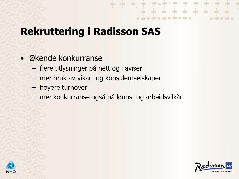 Rekruttering i Radisson SAS Økende konkurranse –flere utlysninger på nett og i aviser –mer bruk av vikar- og konsulentselskaper –høyere turnover –mer konkurranse også på lønns- og arbeidsvilkår