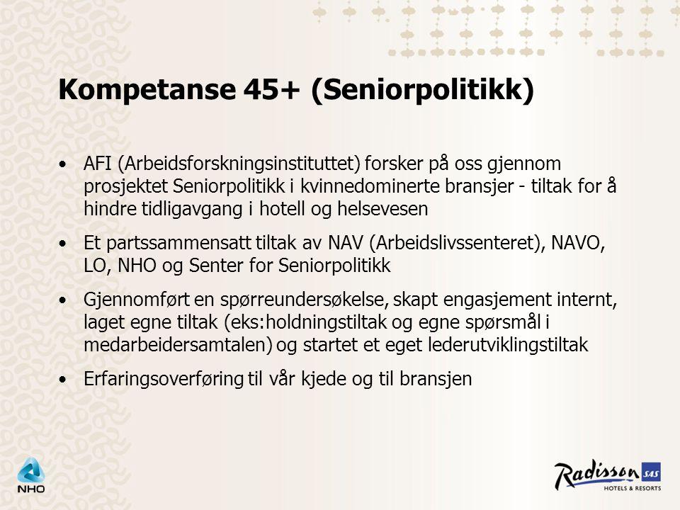 Kompetanse 45+ (Seniorpolitikk) AFI (Arbeidsforskningsinstituttet) forsker på oss gjennom prosjektet Seniorpolitikk i kvinnedominerte bransjer - tiltak for å hindre tidligavgang i hotell og helsevesen Et partssammensatt tiltak av NAV (Arbeidslivssenteret), NAVO, LO, NHO og Senter for Seniorpolitikk Gjennomført en spørreundersøkelse, skapt engasjement internt, laget egne tiltak (eks:holdningstiltak og egne spørsmål i medarbeidersamtalen) og startet et eget lederutviklingstiltak Erfaringsoverføring til vår kjede og til bransjen