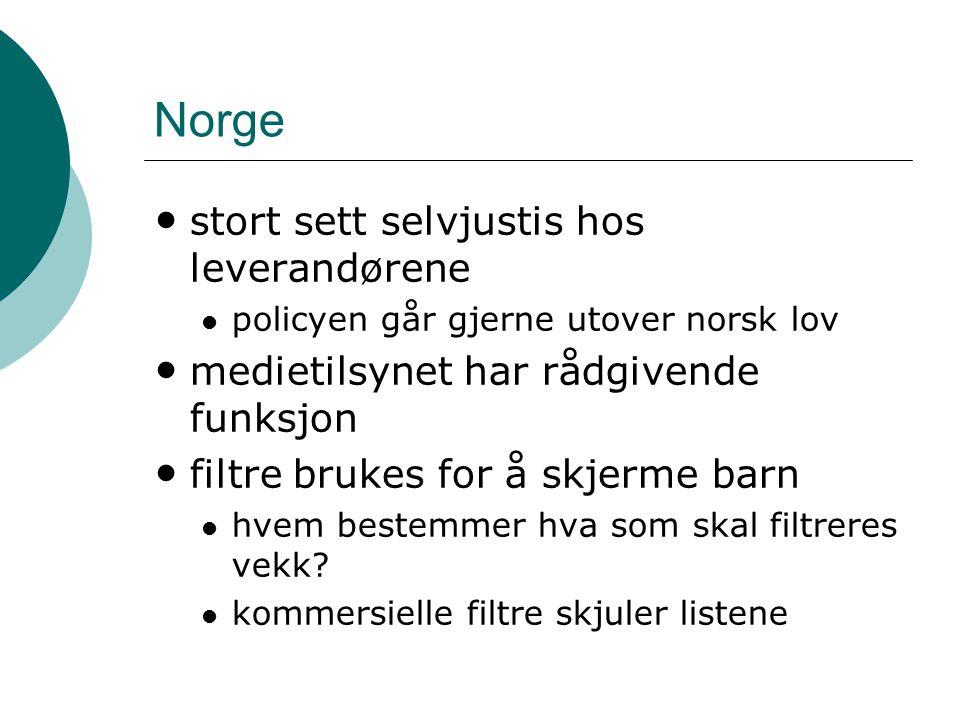 Norge stort sett selvjustis hos leverandørene policyen går gjerne utover norsk lov medietilsynet har rådgivende funksjon filtre brukes for å skjerme barn hvem bestemmer hva som skal filtreres vekk.