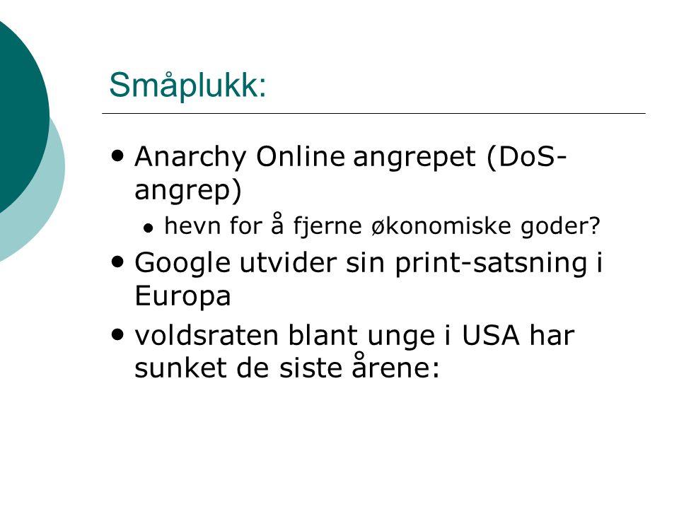 Småplukk: Anarchy Online angrepet (DoS- angrep) hevn for å fjerne økonomiske goder.