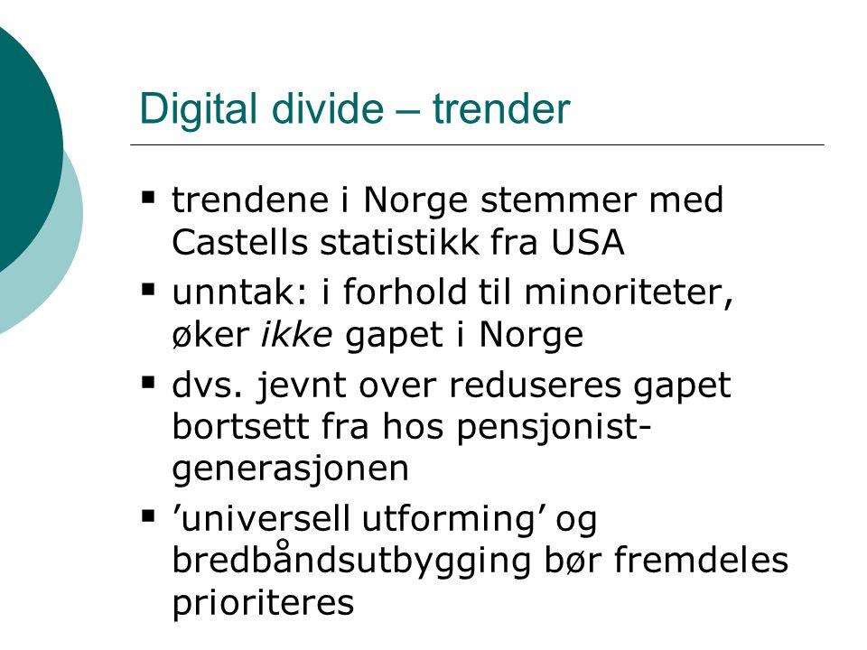 Digital divide – trender  trendene i Norge stemmer med Castells statistikk fra USA  unntak: i forhold til minoriteter, øker ikke gapet i Norge  dvs.