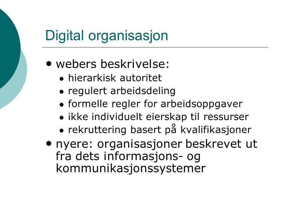 Digital organisasjon webers beskrivelse: hierarkisk autoritet regulert arbeidsdeling formelle regler for arbeidsoppgaver ikke individuelt eierskap til ressurser rekruttering basert på kvalifikasjoner nyere: organisasjoner beskrevet ut fra dets informasjons- og kommunikasjonssystemer
