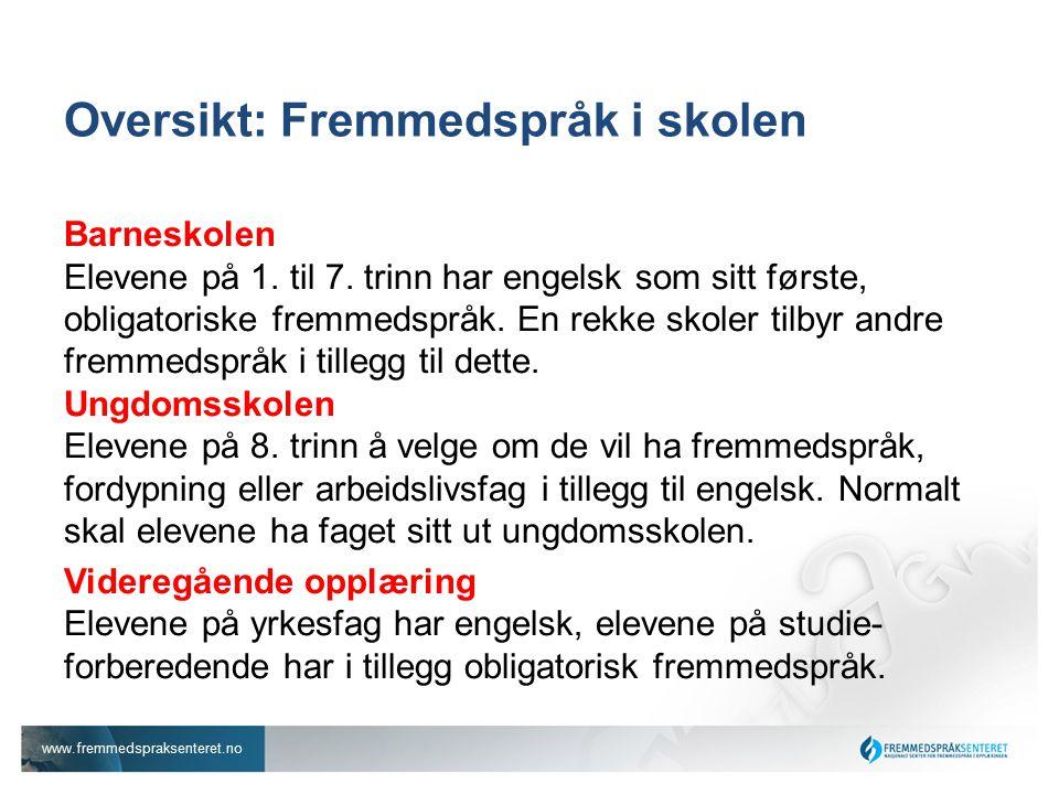 www.fremmedspraksenteret.no Oversikt: Fremmedspråk i skolen Barneskolen Elevene på 1.
